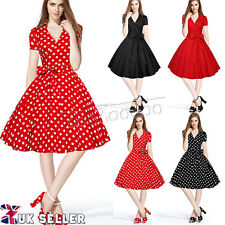 Women Vintage 1950s Dress Audrey Hepburn Style Rockabilly Polka Dot Swing Skater
