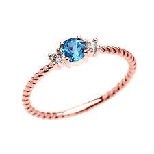 14k Rose Gold Dainty Solitaire Blue Topaz & White Topaz Rope Stackable Ring