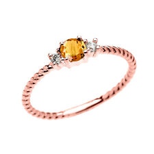10k Rose Gold Dainty Solitaire Citrine & White Topaz Rope Stackable Ring