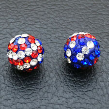 American Flag Crystal Pave Clay Disco Ball Spacer Beads Fit Shamballa Bracelets