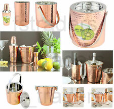 Copper Cocktail Bar Gift Set Double Wall Ice Bucket / Wine Cooler /Drinks Shaker
