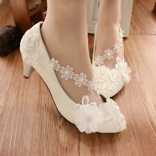 Lace white ivory crystal Wedding shoes Bridal flats low high heel pump size 5-9