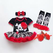 Girl Baby Newborn Romper Tutu Dress Clothes 4PCS Skull Halloween Costume Cosplay