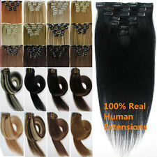 Straight Clip In Remy Real 100% Human Hair Extensions 7pcs15-22 Inch Wholesale