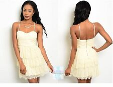 Women  Vanilla Lace Tiered Mini Dress Fitted Spaghetti Strap Dressy Empire Waist