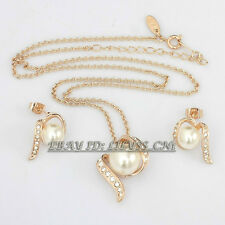 B1-S3050 Fashion Ribbon Charm Pearl Earrings Necklace Jewelry Set 18KGP Crystal