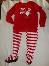 DR SUESS CAT IN THE HAT  2 piece FOOTED FLEECE PAJAMAS NWTS LADIES  SO SOFT