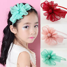 Flower Bowknot Kid Girl Sinamay Fascinator Headband Hairband Dress Birthday Gift
