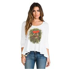 NWT Wildfox Couture Kitty Wreath Lazy Weekend long sleeve t-shirt size S