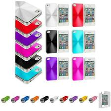 For iPhone 4 4S Chrome Aluminum Hard Luxury Case Cover+Car Charger+LCD