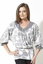 BLOUSE CAREER BATWING BLOUSON MADE IN EUROPE STRETCH ELBOW SLEEVE S M L XL 2XL