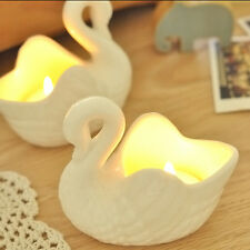 Vintage Swans Figurines Ceramic Candlestick Candle Holders Decoration Gift New