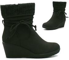 NEW WOMENS LADIES FLAT FAUX SUEDE MID HEEL WEDGE ZIP ANKLE BOOTS SHOES SIZE