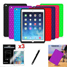 Apple iPad Anti Slip Shock Proof Silicone Back Case Cover + 3X Screen Protector