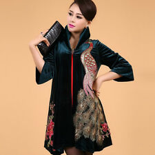 new listing!fashion beautiful peacock embroidery pleuche dust coat Women's coat