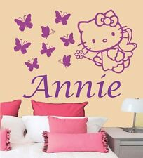 Personalized Custom Hello Kitty Fairy Butterfly Flower Name Vinyl Decal Sticker