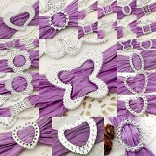 100 Acrylic Silver Toned Buckle/Ribbon Slider Butterfly/Rectangle/Circle/Square