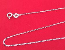Solid 925 Sterling Silver 1.2mm Open Curb Chain Necklace 16 18 20 22 24 Inch