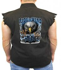 Biker Denim Vest Ride Like The Wind Free Spirit Eagle Chopper Biker Wear