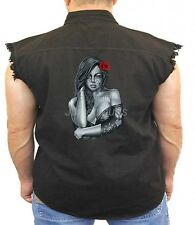 Day Of The Dead Denim Vest Sexy Red Rose Tattoo Skull Biker Wear