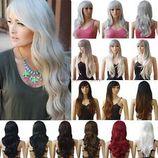 Fashion Women Long Curly Straight Full Wig Cosplay Party Daily Fancy Dress Black