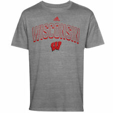 adidas Wisconsin Badgers Youth Gray Tri-Blend Pickup Artist T-Shirt