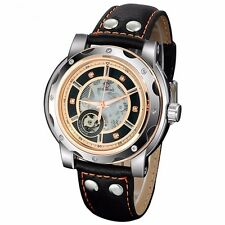 FORSINING Black Leather Auto Mechanical Wrist Watch High Quality Mens Fashion
