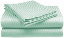 1000TC Egyptian Cotton 1pc  FLAT SHEET Sateen Stripe Mint Green