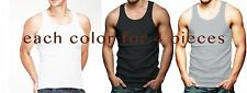 Lot Of 12 Mens Tank Top 100% Cotton A-Shirt Lot Wife Beater Ribbed Undershirt