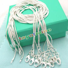 Xmas wholesale 925sterling silver plated 10pcs 1mm snake chain necklace 16-30