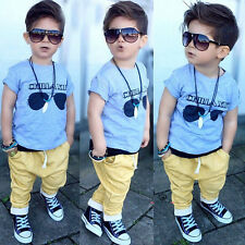 2pcs Toddler Infant Kids Baby Boys Short Sleeve T-shirt Tops+Pants Sets Clothes