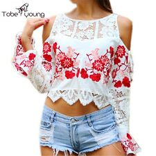 Autumn Sexy Cut Out Shoulder Flower Embroidery Bell Long Sleeve Crop Top Blouse