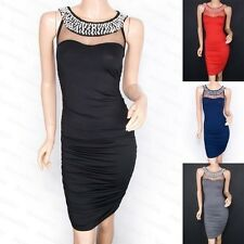 Sexy Faux Pearl Jeweled Fitted Evening Pencil Sheath Dress