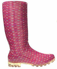 Womans Ladies Pink Coloured Heart Winter Wellies Rain Welly Boots Size 3 4 5 6 7
