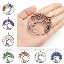 Fashion Chakra Gemstone Chip Beads Tree of Life Wire Wrap Healing Point Pendant