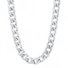 Men's 7mm Rhodium Plated Rounded Cuban Link Curb Chain & Bracelet Set