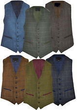 Mens Classic Wool Blend Derby Tweed Check Waistcoat  Herringbone Formal  S - 3XL