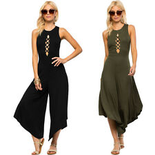 Sexy Womens Bandeau Wide Leg Jumpsuits Capri Sleeveless Hollow Out Rompers Pants