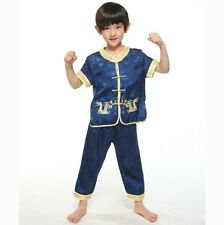 Chinese Boy's Dragon Kung Fu Shirt Pants Suit Blue Sz: 2 4 6 8 10 12