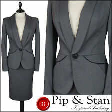 NEXT UK12 US8 GREY DOTTY PEPLUM PENCIL SKIRT SUIT WOMEN LADIES SIZE
