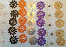 Embellishments Punched Card Flowers BOGOF 35 Asstd Cols + Pearlised Beads Qty70