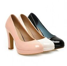 New AU Size Sweet Pumps Synthetic Patent Leather Thick High Heel Lady Shoes s359