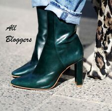 ZARA ��  NEW A/W 2016 �� GREEN LEATHER HIGH HEEL ANKLE BOOTS ��  5112/101