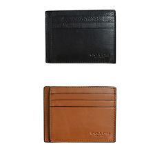 New Auth Coach Men's Sport Calf Leather ID Window Card Case Wallet 75022