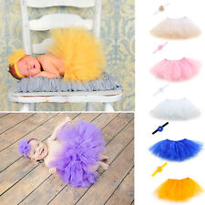 Newborn Sweet Baby Girl Tutu Skirt & Flower Headband Photo Prop Costume Outfit