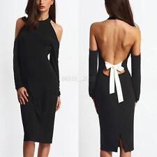 Sexy Women Black Bandage Bodycon Backless Evening Club Party Cocktail Mini Dress