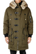 DSQUARED2 Man Green Down Coat with Fur New with Tags and Original