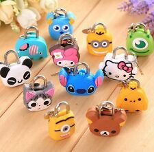 Mini Metal Cute Cartoon Silicone Travel Luggage Padlock Desk Safty Lock & Key
