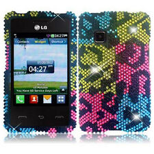 For LG 840G Straight Talk Net 10 Tracfone Colorful Bling Diamond Hard Case Cover