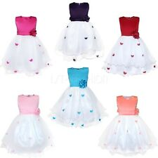 Girl's Flower Dress Butterfly Floral Party Bridesmaid Wedding Princess Bubble